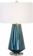 Uttermost 27225-1 Pescara Teal-Gray Glass Side Table Lamp