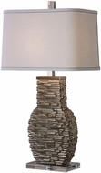 Uttermost 27319-1 Clavin Polished Nickel Plated Stack Textured Table Lighting