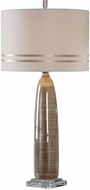 Uttermost 27336 Dima Polished Nickel Plated Light Brown Ceramic Table Lamp Lighting