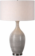 Uttermost 27518 Dinah Plated Polished Nickel Gray Textured Lighting Table Lamp