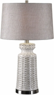 Uttermost 27535-1 Kansa Brushed Nickel Plated Distressed White Table Lamp
