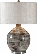Uttermost 27656-1 Tamula Distressed Ivory Side Table Lamp