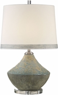 Uttermost 27781-1 Padova Embossed Floral Pattern with Aged Light Blue Glaze Side Table Lamp