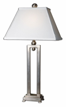 Uttermost 27800 Conrad Brushed Aluminum Frame Modern Table Lamp With Hand-Sewn Rectangle Bell Shade