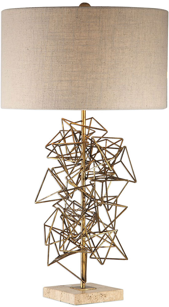Uttermost 27816 Vasaya Contemporary Metallic Antique Gold Table Lamp
