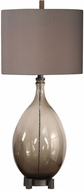 Uttermost 27878 Saimara Heavily Seeded Charcoal Smoke Table Top Lamp