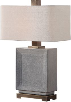 Uttermost 27905-1 Abbot Crackled Gray Table Lamp