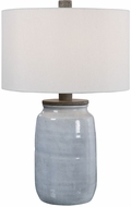 Uttermost 28266-1 Dimitri Light Blue Crackle Glaze / Aged Charcoal Stained Concrete Table Lamp Lighting