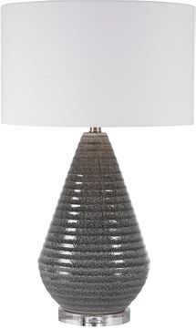 Uttermost 28273 Carden Smoke Gray Crackle With Thick Crystal And Brushed Nickel Table Top Lamp