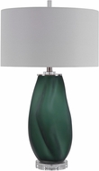 Uttermost 28278 Esmeralda Frosted Emerald Green With Brushed Nickel And Crystal Table Lighting