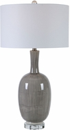 Uttermost 28279 LeAnna Light Gray Crackle and Crystal With Brushed Nickel Lighting Table Lamp