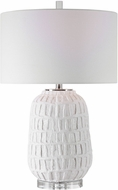 Uttermost 28283-1 Caelina Matte White / Polished Nickel Lighting Table Lamp