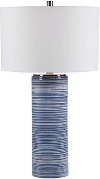 Uttermost 28284 Montauk White And Indigo With Polished Nickel Table Top Lamp