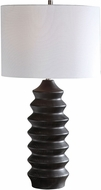 Uttermost 28288-1 Mendocino Carved Wood Rustic Black Table Top Lamp