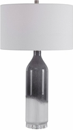 Uttermost 28290 Natasha Light Gray And Frosted White Ombre with Crystal and Brushed Nickel Table Light