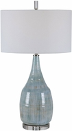 Uttermost 28330 Rialta Aqua And Teal Crackle With Rust Brown. Polished Nickel And Crystal Table Lamp Lighting