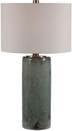 Uttermost 28333 Callais Crackled Aqua Blue With Dark Bronze and Brushed Nickel Table Top Lamp