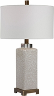 Uttermost 28346-1 Irie Cream And Taupe Crackle With Antique Brushed Brass Table Lighting
