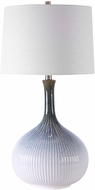 Uttermost 28347-1 Eichler Cream, Light Blue, Indigo, And Dark Brown Ombre With Brushed Nickel Lighting Table Lamp