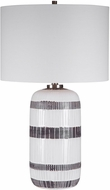 Uttermost 28353-1 Granger Aged White With Dark, Chocolate Brown and Brushed Nickel Side Table Lamp