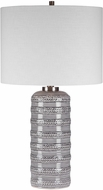 Uttermost 28354-1 Alenon Light Gray Glaze With Brushed Nickel Table Lamp