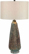 Uttermost 28399 Mondrian Light Blue and Rust Side Table Lamp