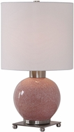 Uttermost 29667-1 Rhoda Mottled Soft Pink Glaze Buffet Table Lamp