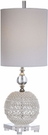 Uttermost 29741-1 Mazarine Gloss White With Thick Crystal And Polished Nickel Table Torchiere Lamp