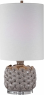 Uttermost 29742-1 Bondi Light Gray With Sea Shell Accents and Brushed Nickel Torchiere Table Lamp