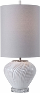Uttermost 29743-1 Lucerne Distressed White With Taupe And Brushed Nickel Buffet Lamp