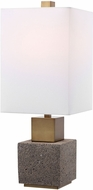 Uttermost 29745-1 Auckland Modern Mottled Dark Gray And Sandy Brown With Aged Gold Buffet Table Lamp