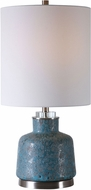 Uttermost 29746-1 Davao Mottled Turquoise With Smoke Gray and Brushed Nickel Table Torchiere Lamp