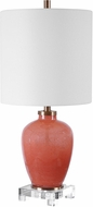 Uttermost 29747-1 Dominica Seeded Coral With Thick Crystal And Brushed Brass Table Light