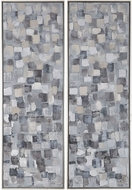 Uttermost 36054 Cubist Contemporary Blue, Ochre, Grey and White Hand Painted Art (set of 2)