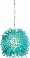 Varaluz 169M01AQ Urchin Contemporary Aqua Velvet Mini Pendant Hanging Light
