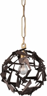 Varaluz 286P01AGRB Bermuda Modern Antique Gold/Rustic Bronze Mini Hanging Pendant Lighting