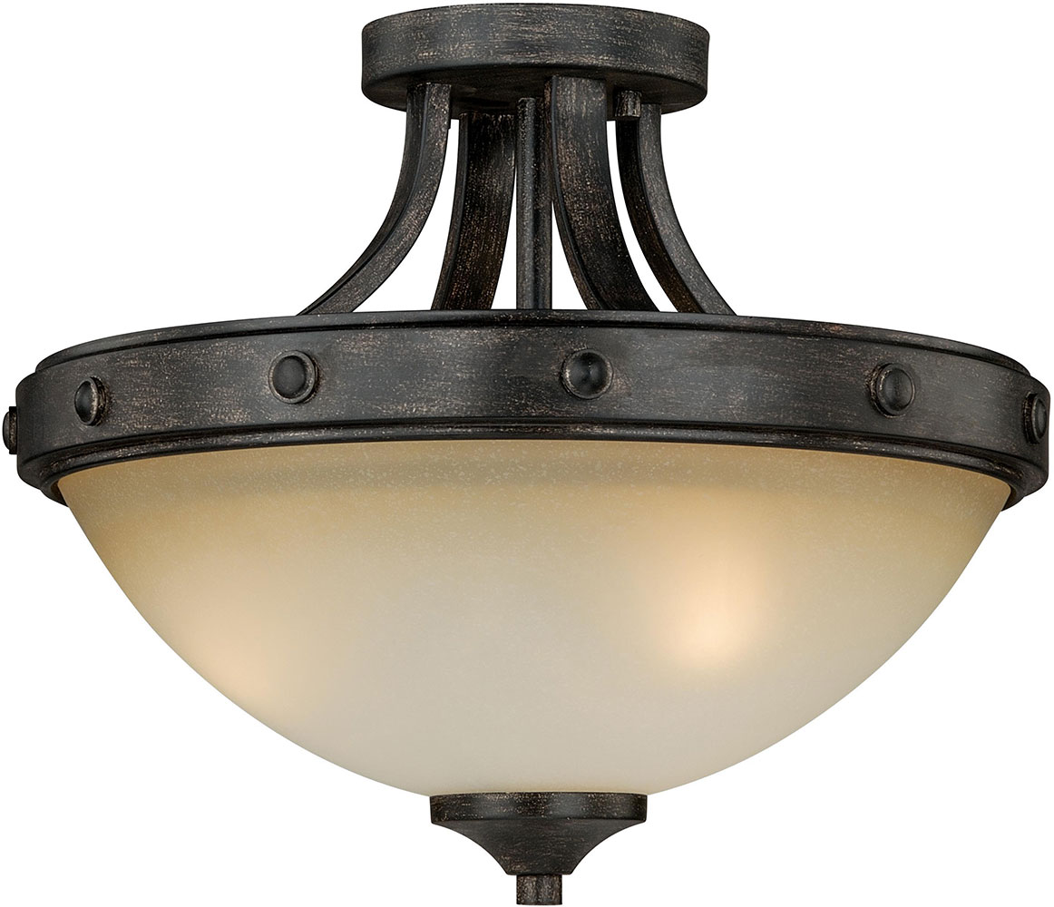 Vaxcel C0077 Halifax Aged Walnut Ceiling Light Fixture Vxl C0077