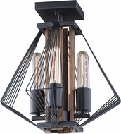 Vaxcel C0147 Dearborn Contemporary Black Iron with Burnished Oak Ceiling Lighting Fixture