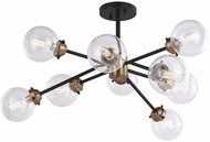 Vaxcel C0238 Orbit Contemporary Oil Rubbed Bronze and Muted Brass Ceiling Light Fixture