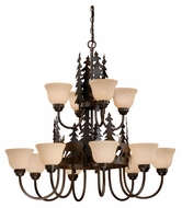 Vaxcel CH55412BBZ Bryce Country Burnished Bronze Finish 38.5  Wide Chandelier Light