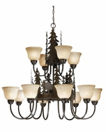 Vaxcel CH55612BBZ Yellowstone Rustic Burnished Bronze Finish 36.5  Tall Chandelier Lighting