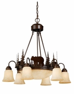 Vaxcel CH55706BBZ Bozeman Country Burnished Bronze Finish 28.5  Wide Chandelier Light