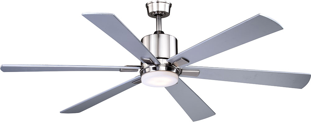 Vaxcel F0050 Wheelock Modern Brushed Nickel Led Indoor Outdoor Ceiling Fan Loading Zoom
