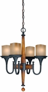 Vaxcel H0025 Meritage Charred Wood and Black Iron Finish 20  Wide Mini Ceiling Chandelier