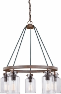 Vaxcel H0198 Milone Contemporary Textured Rustic Bronze Chandelier Light