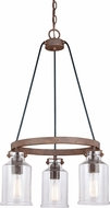 Vaxcel H0199 Milone Modern Textured Rustic Bronze Mini Chandelier Lighting