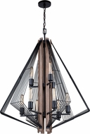Vaxcel H0212 Dearborn Contemporary Black Iron with Burnished Oak Chandelier Light