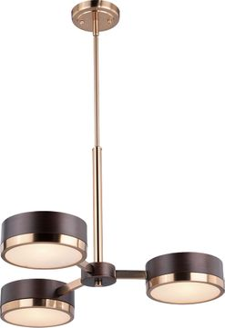 Vaxcel H0217 Madison Modern Architectural Bronze with Natural Brass Mini Ceiling Chandelier