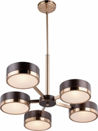 Vaxcel H0218 Madison Contemporary Architectural Bronze with Natural Brass Hanging Chandelier