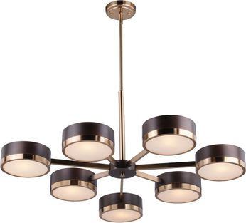 Vaxcel H0219 Madison Modern Architectural Bronze with Natural Brass Chandelier Light